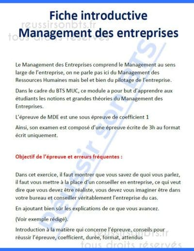 Fiche introductive sur le management